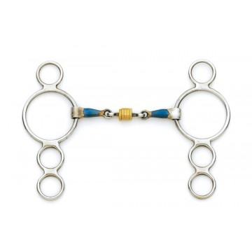 Centaur® Blue Steel 3-Ring Gag with Loose Brass Roller Disks