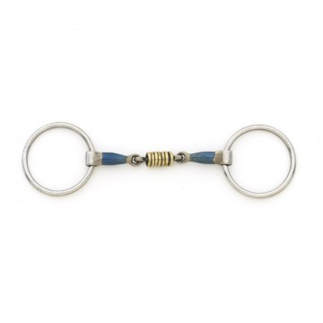 Centaur® Blue Steel Double Jointed Mouth Loose Ring with Brass Rollers